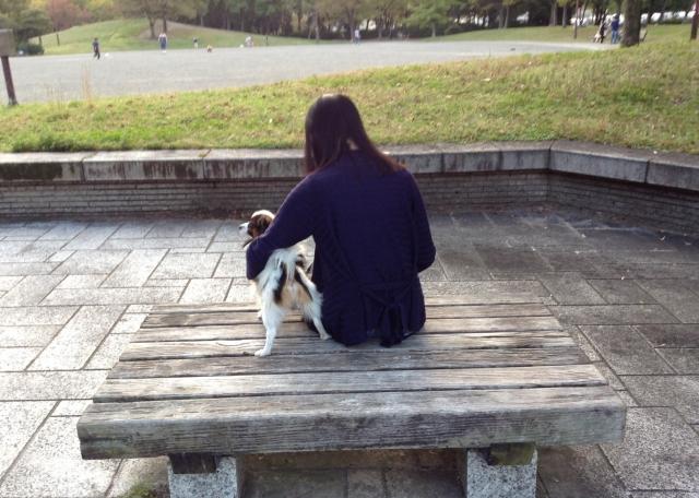 女性と寄り添う犬