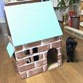 デコレーション用のリメイクシートでかわいく♡段ボール猫ハウスの作り方