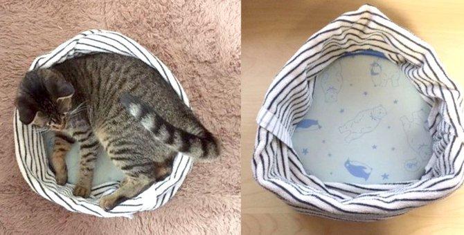ひんやり涼しい!夏用猫ベッドを手作りしました