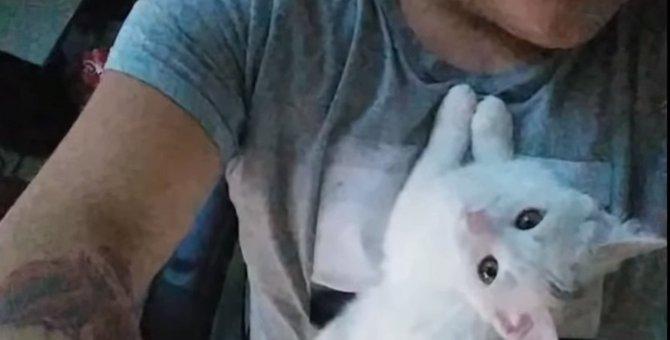 猫嫌いだった男性を救った1匹の子猫