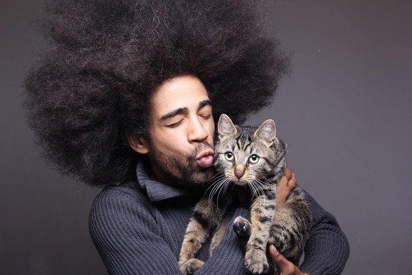 アフロヘアの男性に抱っこされる猫