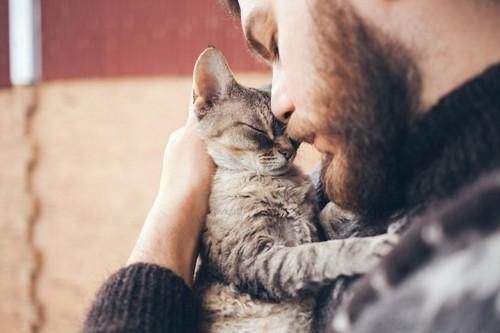 男性に抱かれて目を閉じる子猫