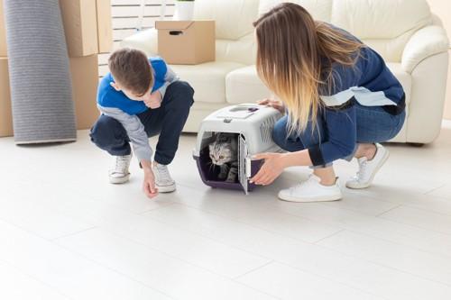 猫を迎え入れる家族