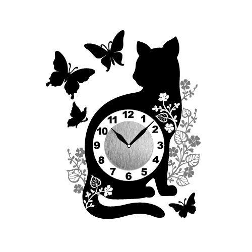 猫と蝶のウォールクロックステッカー