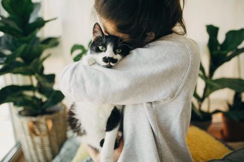 猫を抱きしめて顔を近づける女性