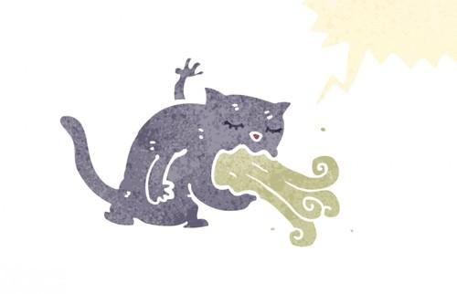 おう吐している猫のイラスト