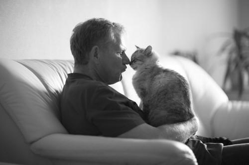 鼻を合わせる男性と猫
