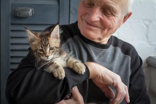 おじいさんに抱っこされている猫