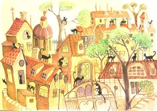町の中にたくさんの黒猫が描かれている絵