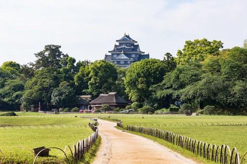 後楽園ごしの岡山城