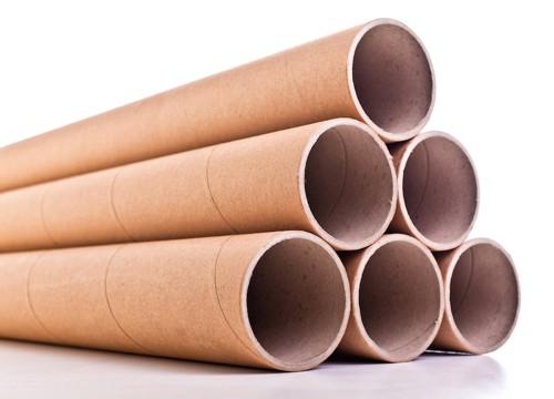 積んである紙管