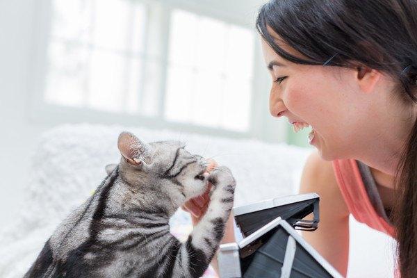 猫と笑顔の女性