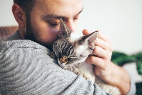 男性に抱かれたキジトラ猫