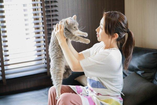 抱っこされる猫と飼い主