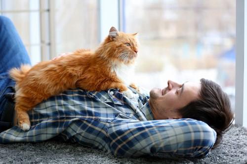 胸の上に猫を乗せてご満悦のお父さん