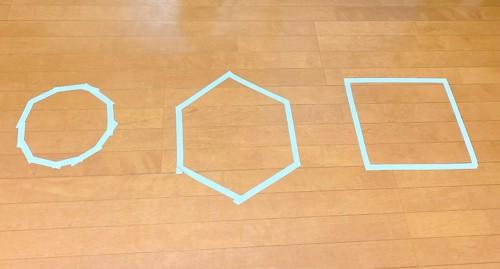 テープで描いた3つの図形