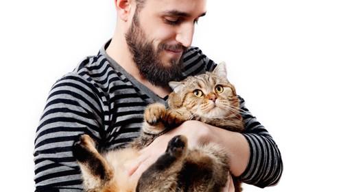 ぽっちゃり猫を抱っこする男性