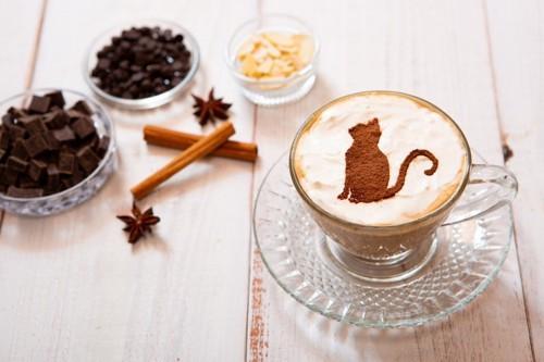 猫のラテアートとチョコレート