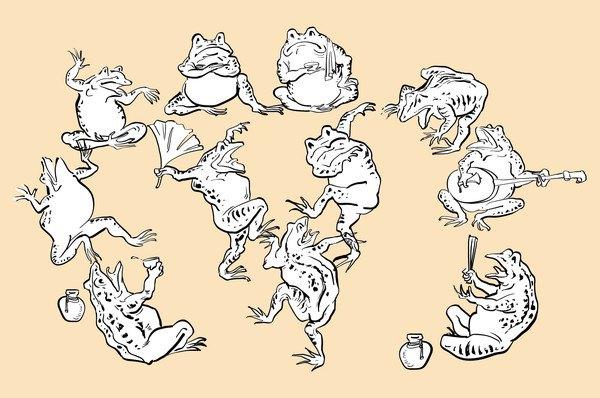 鳥獣戯画カエルたち