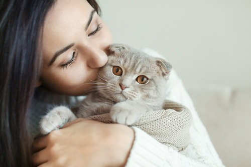 猫を抱きしめてキスをする女性
