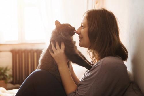 女性に抱き上げられて鼻を舐める猫