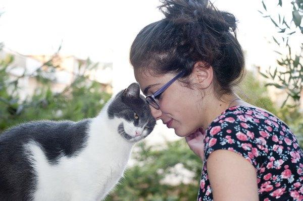 頭をあわせる猫と女性