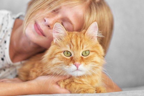 少女の前にいる猫