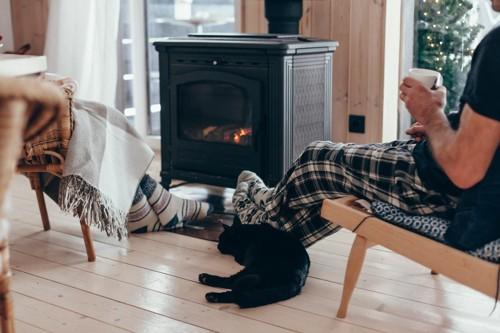 暖炉と家族と黒猫