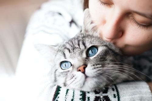 青い目の猫を抱きしめてキスをする女性