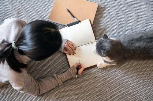 ノートに書く女性の横にいる猫