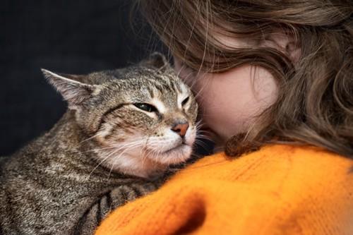 猫を抱いて後悔する人