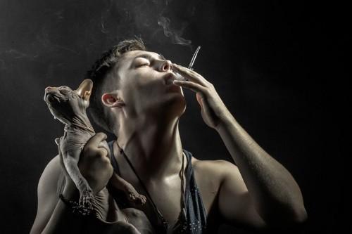 タバコを吸う人と猫