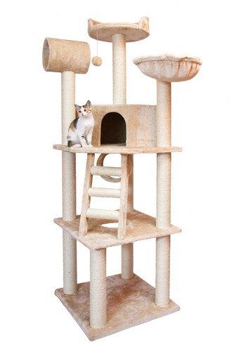 おしゃれなポール付きキャットタワーに乗っている猫