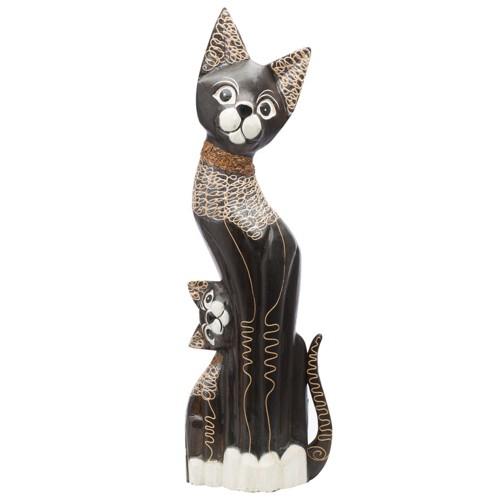 木製の猫のフィギュア
