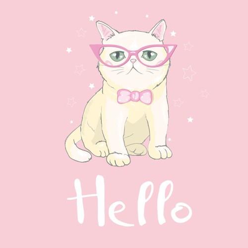 ピンクのメガネをかけた猫のマーク