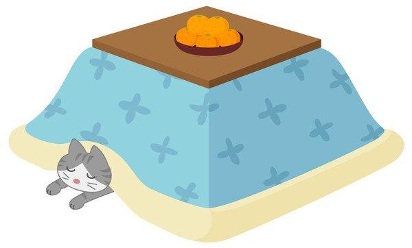コタツに入る猫のイラスト