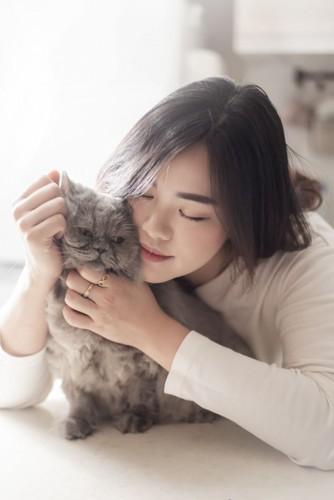 女性に頬ずりされるグレイ猫