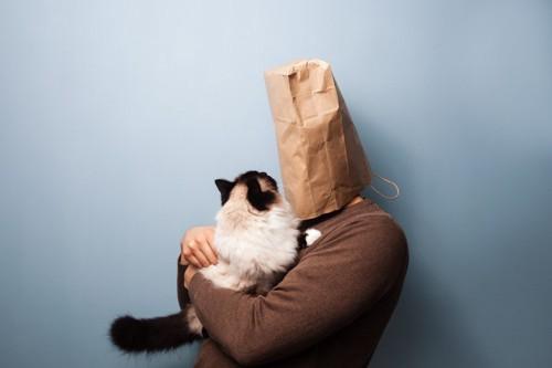 紙袋を被った人と猫