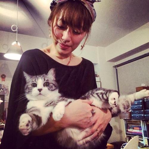 坂本美雨さんが猫を抱っこ