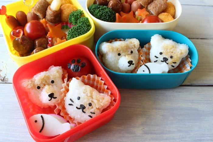 猫やクマのおにぎりが入ったお弁当