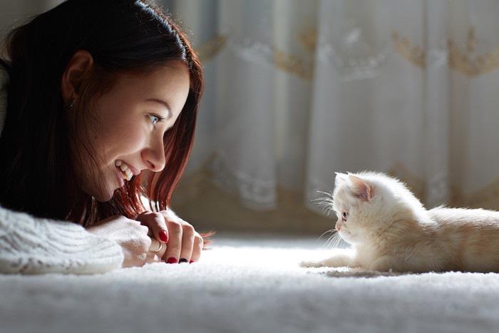 白いカーペットの上の女性と猫