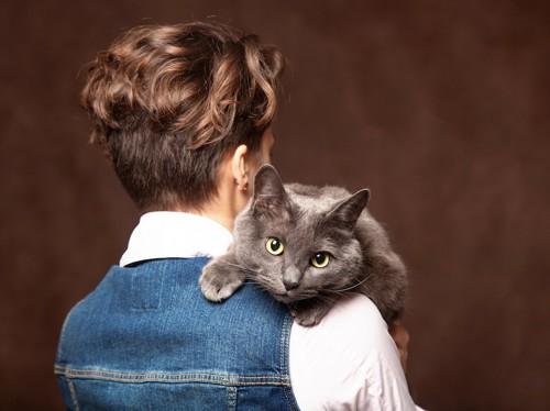 女性に抱っこされているロシアンブルー