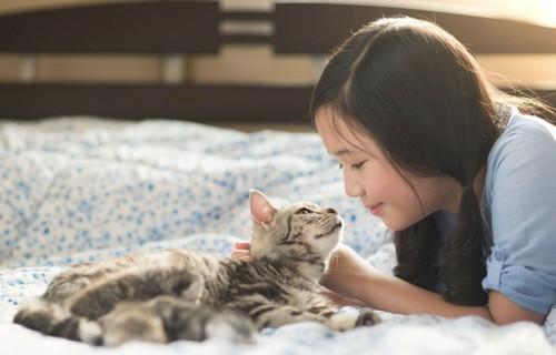 猫をもちあげる女性