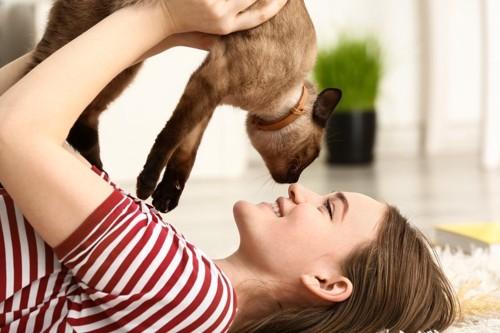 女性と顔を近づける猫
