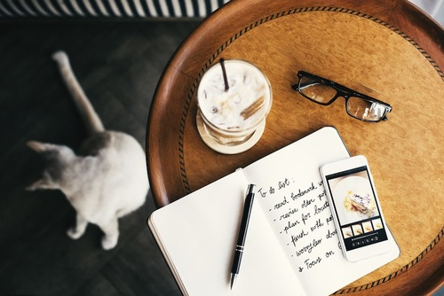 テーブルの上に置かれたノートとそばにいる猫