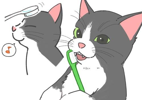 歯ブラシを使ってチャレンジ