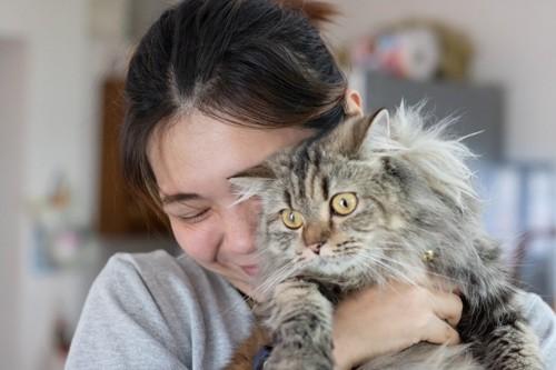 無理に起こされてびっくりしている猫