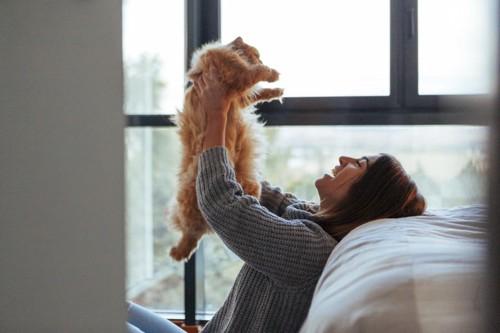猫を抱きあげる女性