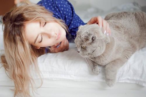 女性に構われる猫