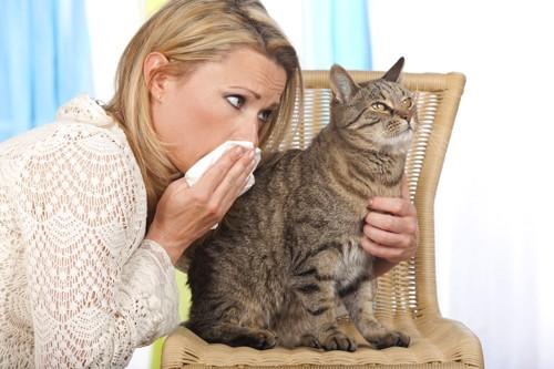 鼻をおさえる女性と猫